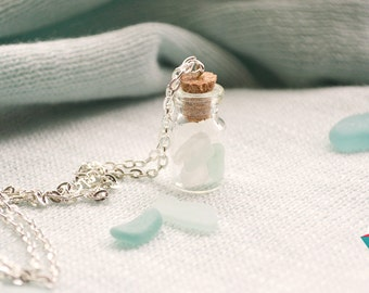 Sea Glass Bottle Necklace, Seaglass necklace,Seaglass jewelry,White Sea Glass Necklace,Sea Glass Bottle Charm,Clear Sea Glass Bottle Pendant