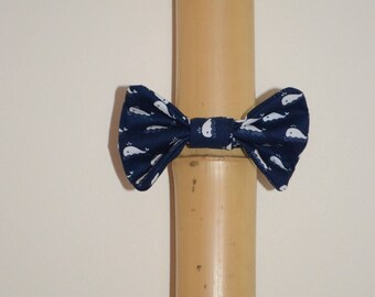 Elastic with white whales Navy blue hair bow