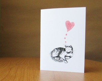 Sweet cat love card for Mother's Day, anniversary, or fondly thinking of you. Blank inside for your personal message.