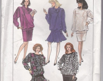 ON SALE 1980s Simplicity Pattern No 8807 for Misses Pullover Top and Skirt Size 8-14  Bust 31 1/2 - 36 inches, Uncut, Factory Folded