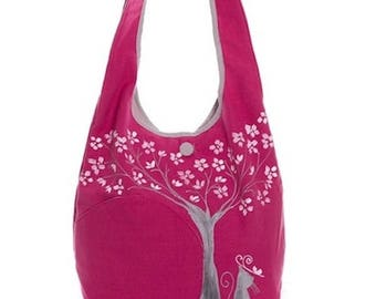 Cherry and cat shoulder bag, magenta, romantic style