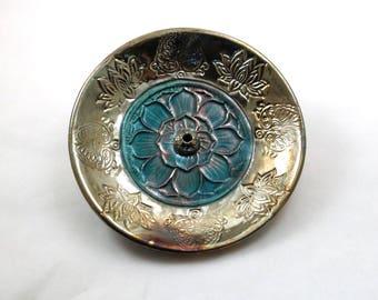 Lotus Incense Burner Handmade Raku Ceramic Pottery