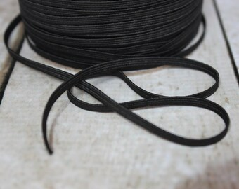 Black Skinny Elastic 1/8 inch - Elastic For Baby Headbands - 5 Yards