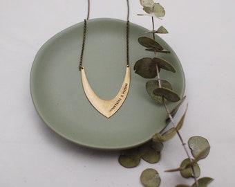 Customized V Brass Necklace