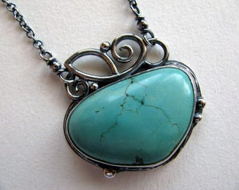 Sterling Silver Pendant Necklace, Turquoise Pendant, Handmade Silver Jewelry, Silver Turquoise Necklace, Gemstone Necklace
