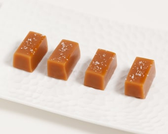 Client Gifts / Trade Show / Salted Caramels // Fleur de Sel Soft and Chewy Caramel Wedding Favors - 450 Individually Wrapped Caramels