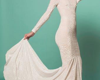 Boho Wedding Dress, Wedding Dress, Long Sleeved Wedding Dress, Velvet Wedding Dress, Velvet Burnout Dress, Velvet Dress, Velvet Burnout