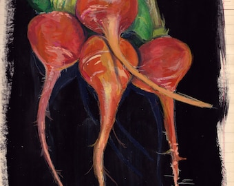 ORIGINAL PAINTING Beets in Gouache