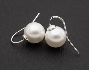 Large White Pearl Silver Earrings Big 12mm Swarovski Pearl Sterling Silver Earrings Wedding Jewelry Simple Pearl Earrings Bridesmaid Gift