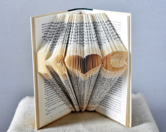First Anniversary Gift - Paper - Folded Book Art Sculpture with Monogrammed Initials