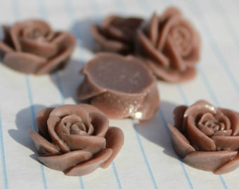 10 OPEN ROSE Cabochons - 20mm - Brown Color