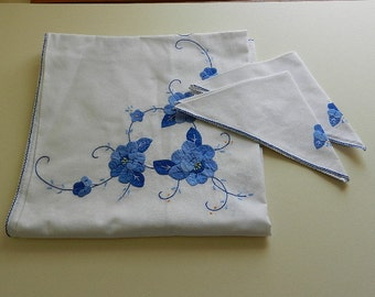 White Cotton Tablecloth with Blue Appliqué