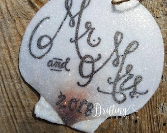 Mr and Mrs Beach Wedding, Just Married Ornament, Wedding Ornament, Our First Christmas, Mr & Mrs Decor, Wedding Beach Decor, Coastal Wedding