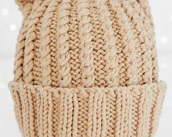 Light Brown Knit Look Bear Beanie / Winter Hat / Baby Beanie / Baby Hat