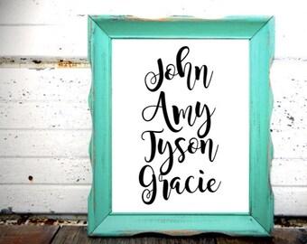 Custom Family Names Printable (8x10) - Home Decor - House warming gift - Wedding Gift