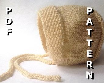Baby Bonnet Knitting Pattern PDF Size Newborn-6 Months