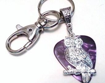 Guitar Pick KeyChain - Guitar Pick Jewelry - Purple - Owl Key chain - Owl Jewelry - Pick Key Chain