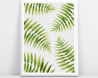 Fern Leaf Print, Large Printable Poster, Modern Minimal, Botanical Wall Art, Digital Download, Tropical Decor, Green Plant Leaves