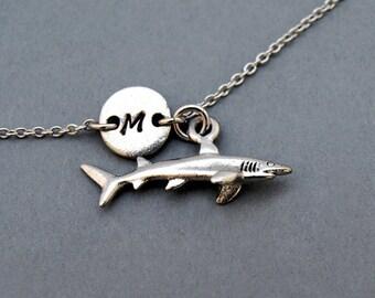Shark charm bracelet, antique silver, initial bracelet, friendship, mothers, adjustable, monogram