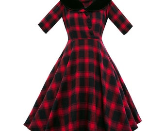 Retro vintage turned down collar black red checkered dress