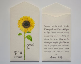 Cream Sunflower Seed Packet Wedding Favor Envelopes - Simple Sunflower Wedding Favor - Rustic Seed Packets - Many Colors Available