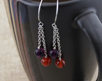 Swingy Sterling Silver Chain Earrings with Carnelian and Rainbow Fluorite Dangles