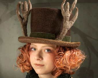 Antler Top Hat - Top Hat - Felt Top Hat - Deer Hat - Brown Top Hat - Antlers