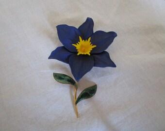 Wonderful Large Enameled Flower Brooch Must See
