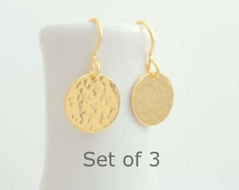 bridesmaid earrings. SET OF 3. small gold dangle. hammered circle drop. 14k yellow gold filled. wedding jewelry. simple bridal gift. 1/2""