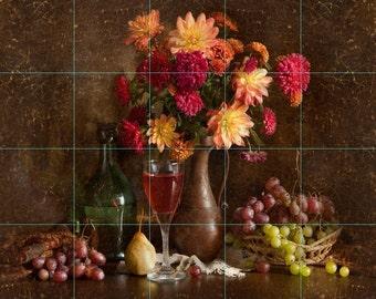24 x 30Ceramic Tile Mural Backsplash Wine/Grapes/Vase of Flowers 227