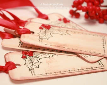 Christmas Gift Tags (Double Layered) - Holly and Berry Tags - Vintage Inspired Handmade Tags - Set of 6