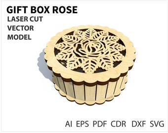 Wooden chest Storage box Laser CNC Cutting Wood Gift Box