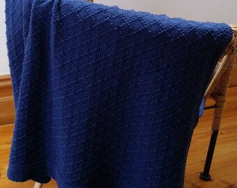 Hand Knitted Diamond Pattern 100% Pure Cotton Baby Blanket
