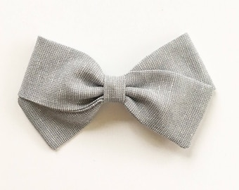 Baby Girl, Toddler, Girls Fabric Bow Headband or Hair Clip - Silver Shimmer