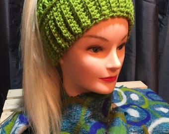 Women's Hand Crocheted Messy Bun Hat