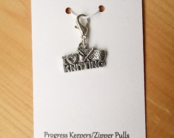 Love Knitting Progress Keeper, Knitting Marker, Crochet Stitch Marker, Removable Stitch marker, Zipper Pull for your Project Bag