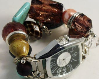 CLEARANCE Patina WATCH SET.. Brown, Copper, Turquoise and Yellow Beaded Watch Bracelet. Watch Face Included