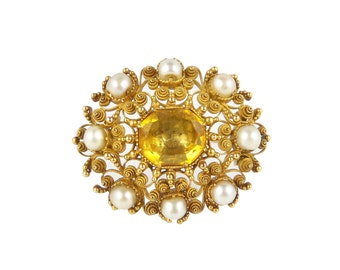 Georgian Citrine Brooch, Antique Citrine Pearl Brooch, In 15ct Gold, Georgian Jewellery, Georgian Brooch, Antique Gold Pearl Brooch