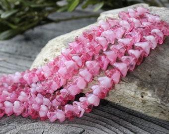 Czech Glass Flower Beads 25 Pcs Pink flower Beads, Czech Glass, Bell Flower Beads, Pressed Glass Beads, Czech Glass Beads, Czech Beads 6x8mm
