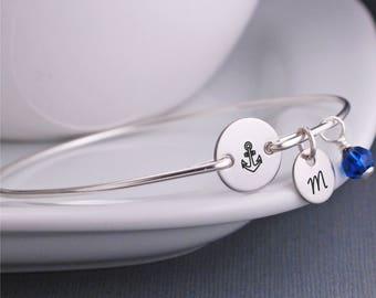 Anchor Bracelet, Nautical Jewelry, Anchor Jewelry, Custom Silver Anchor Bangle Bracelet, Delta Gamma Jewelry, Navy Wife Gift