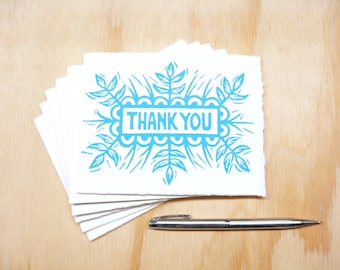 Greeting Cards - Blue Thank You - Set of 6 - Block Printed Cards