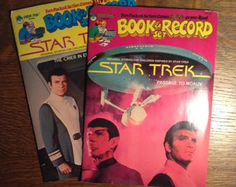 Set of 2 1970s Star Trek Comic Book & Record Sets - Vintage Star Trek Collectibles, Vinyl Record, Comic Book, Vintage Book, Nerd Gift