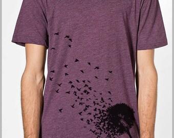 Men's Graphic Tee Dandelion Birds T Shirt Women's Unisex American Apparel Tshirt I Believe I can Fly  XS, S, M, L, XL 9 Colors