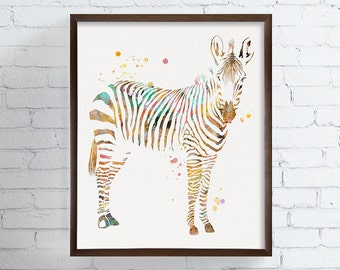 Zebra Watercolor Print, Zebra Art, Zebra Painting, African Animal, Safari Animal, Kids Room, Childrens Room, Nursery Decor, Zoo, Animals