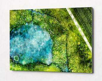 GREEN Field Stretched Canvas Watercolor Landscape Oil Painting Canvas Art Print Landscape Painting Home Decor Travel Poster