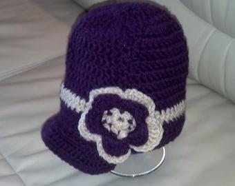Hand crocheted beanie with brim