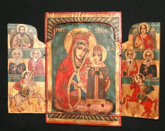 Vintage Orthodox icon tryptich Virgin Mary