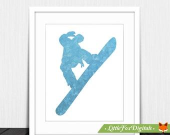 Printable Snowboard Boy Winter Snow Sport Texture Print Silhouette Digital Wall Decor