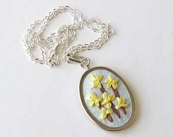 Forsythia necklace, embroidered pendant, yellow spring flowers jewelry, yellow flowers necklace, silk ribbon embroidery