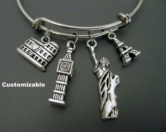 Travel Bracelet / World Traveler Bangle / London / Rome / Paris / New York / Traveller / Wanderlust Bracelet /  Adjustable Charm Bracelet